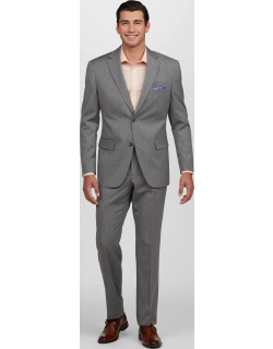 JoS. A. Bank Men's 1905 Collection Tailored Fit Stripe Suit Clearance, Grey, 42 Short