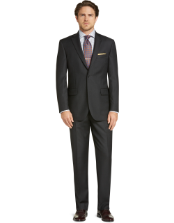 JoS. A. Bank Men's Signature Collection Tailored Fit Solid Pattern Suit - Big & Tall Clearance, Charcoal, 48 Regular