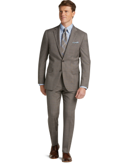 JoS. A. Bank Men's 1905 Collection Slim Fit Glen Plaid Nativa™ Wool Suit with brrr°® comfort Clearance, Tan, 40 Regular