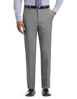 JoS. A. Bank Men's 1905 Collection Tailored Fit Flat Front Textured Suit Separate Pants, Mid Grey, 38 Regular