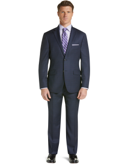JoS. A. Bank Men's Traveler Collection Tailored Fit Glen Plaid Suit Clearance, Navy, 42 Long