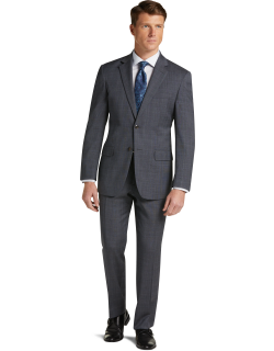 JoS. A. Bank Men's 1905 Collection Tailored Fit Glen Plaid Nativa™ Wool Suit with brrr°® comfort Clearance, Grey, 42 Short
