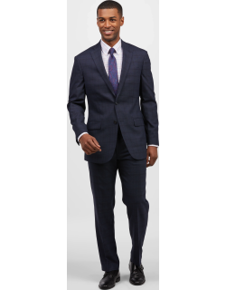 JoS. A. Bank Men's 1905 Collection Tailored Fit Plaid Suit with brrr°® comfort Clearance, Navy, 38 Short
