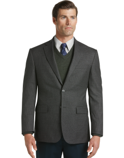 JoS. A. Bank Men's Traveler Collection Tailored Fit Houndstooth Check Sportcoat Clearance, Charcoal, 43 Regular