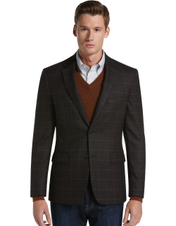 JoS. A. Bank Men's Traveler Collection Tailored Fit Houndstooth Sportcoat Clearance, Brown, 44 Regular