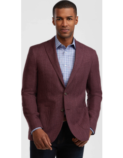 JoS. A. Bank Men's 1905 Collection Slim Fit Textured Sportcoat with brrr°® comfort - Big & Tall, Berry, 48 Regular