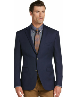 JoS. A. Bank Men's Traveler Collection Tailored Fit Utility Sportcoat, Bright Navy, 42 Long