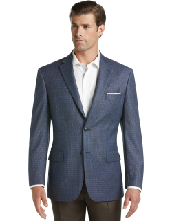 JoS. A. Bank Men's Executive Collection Traditional Fit Mini Check Sportcoat Clearance, Blue, 44 Long