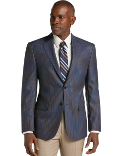 JoS. A. Bank Men's Traveler Collection Tailored Fit Check Sportcoat - Big & Tall, Blue, 50 Long