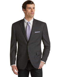 JoS. A. Bank Men's Executive Collection Regal Fit Mini Houndstooth Sportcoat Clearance, Grey, 46 Regal Short