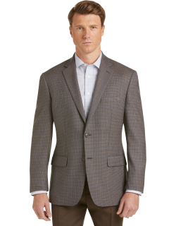 JoS. A. Bank Men's Executive Collection Traditional Fit Check Sportcoat Clearance, Brown, 40 Short
