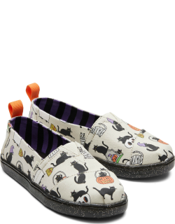 TOMS Natural/Multi Youth Alpargatas Halloween Cats Slip-On Espadrille Natural Glow in the Dark Shoes