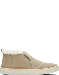 TOMS Cobblestone Suede and Faux Fur Women's Paxton Slip-Ons Shoes