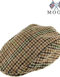 Dents Abraham Moon Dogtooth Flat Cap In Brown