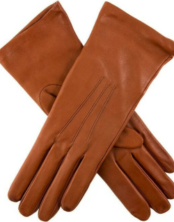 Dents Women's Silk Lined Leather Gloves In Cognac