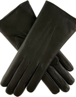 Dents Women's Fur Lined Leather Gloves In Black