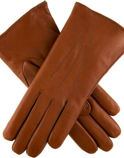Dents Women's Fur Lined Leather Gloves In Cognac