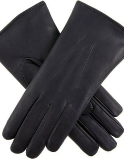 Dents Women's Fur Lined Leather Gloves In Navy