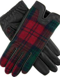 Dents Women's Cashmere Lined Tartan Leather Gloves In Navy/lindsay