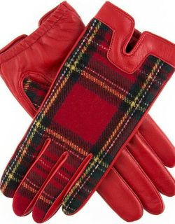 Dents Women's Cashmere Lined Tartan Leather Gloves In Berry/royal Stewart