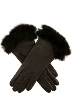 Dents Women's Silk Lined Leather Gloves With Fur Cuffs In Mocca