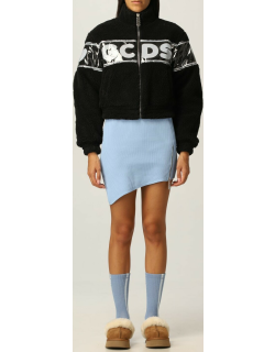 Gcds cropped bomber in fleece with big logo