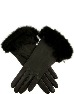 Dents Women's Silk Lined Leather Gloves With Fur Cuffs In Black