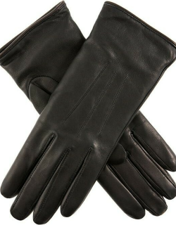 Dents Women's Lambswool Lined Leather Gloves In Black