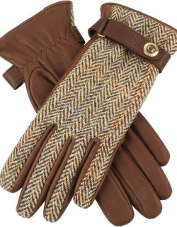 Dents Women's Cashmere Lined Harris Tweed And Deerskin Leather Gloves In Tobacco