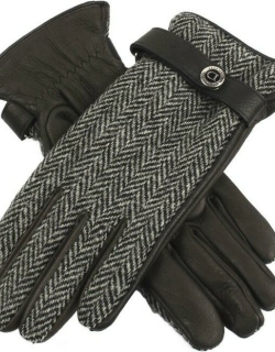 Dents Women's Cashmere Lined Harris Tweed And Deerskin Leather Gloves In Black/charcoal/black