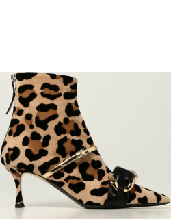 Ankle boot N ° 21 in animalier suede