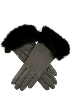 Dents Women's Silk Lined Leather Gloves With Fur Cuffs In Charcoal