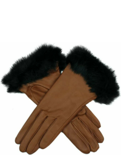 Dents Women's Silk Lined Leather Gloves With Fur Cuffs In Cognac