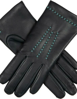 Dents Women'S Cashmere Lined Hairsheep Leather Gloves In Navy/turquoise/turquoise