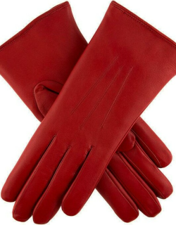 Dents Women's Fur Lined Leather Gloves In Crimson