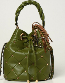 La Carrie bucket bag in synthetic leather with studs
