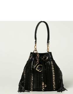 La Carrie bucket bag in synthetic leather with chains