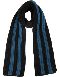 Dents Men's Knitted Scarf With Contrasting Stripes In Black/blue