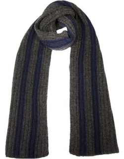 Dents Men's Knitted Scarf With Contrasting Stripes In Charcoal/navy