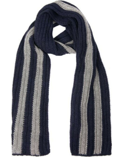 Dents Men's Knitted Scarf With Contrasting Stripes In Navy/slate