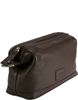 Dents Pebble Grain Leather Wash Bag In Chocolate