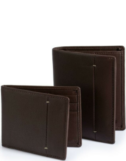 Dents Soft Leather Billfold & Credit Card Wallet Set With Rfid Blocking Protection In Chocolate/pebble