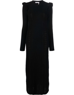 Chloé Broderie Anglaise long-sleeve knitted dress