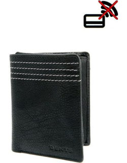 Dents Contrast Stitch Pebble Grain Leather Wallet With Removable Card Holder And Rfid Blocking Protection In Black/dove Grey