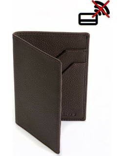 Dents Pebble Grain Leather Passport Holder With Rfid Blocking Protection In Chocolate