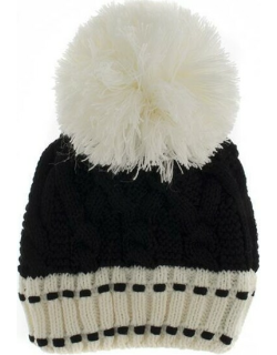 Dents Women's Chunky Cable Knit Hat In Black/cream