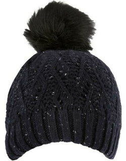 Dents Women's Lace Knit Hat With Faux Fur Pom Pom In Navy