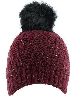Dents Women's Lace Knit Hat With Faux Fur Pom Pom In Claret