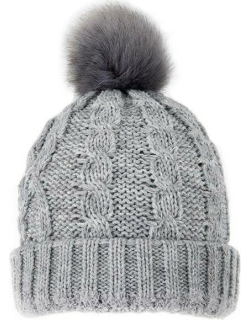 Dents Women's Metallic Cable Knit Hat With Faux Fur Pom Pom In Dove Grey