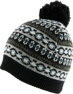 Dents Women's Striped Fairisle Print Knitted Beanie Hat With Pom Pom In Black